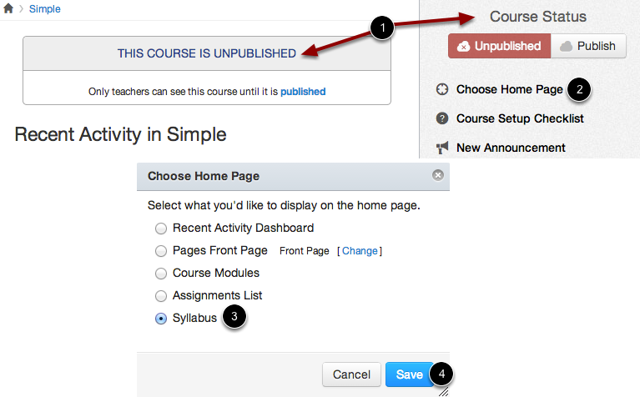Set Course Home Page to Syllabus View