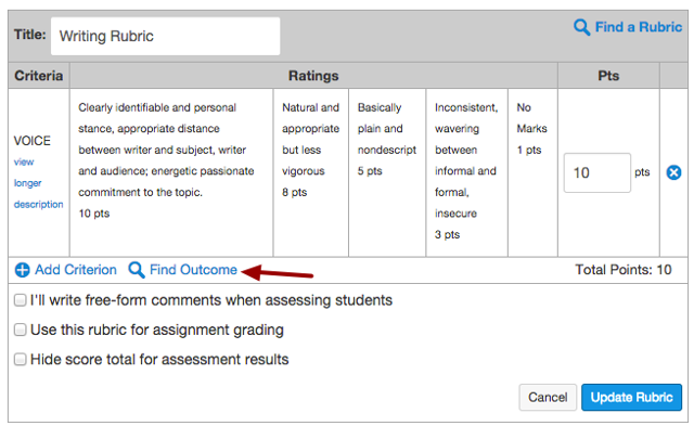 Add Outcome to your Assignment Rubric