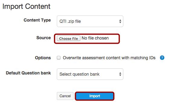 OPTIONAL: Import Quiz (QTI .zip file)