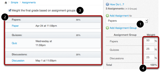 Create Three Assignment Groups on the Assignments Page