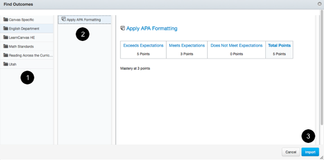 Search for Account-Level Outcomes and Import Into Your Course