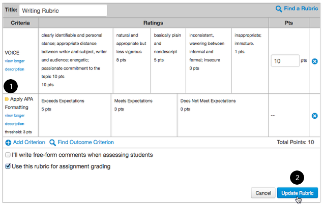 View the Outcome Criterion and Update Rubric