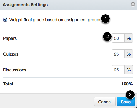 Assignment Groups Settings