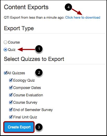 Choose Export Type