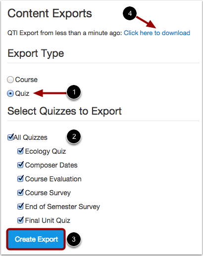 Choose Export Type