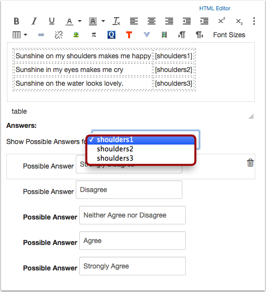 Add Responses as Possible Answers for Each Likert Item