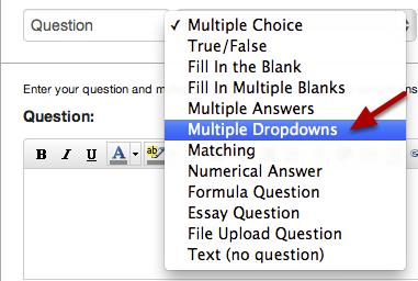 Create a Multiple Dropdowns Question