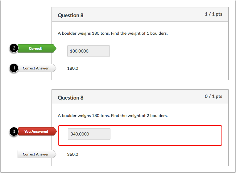 Student View for Formula Question Feedback