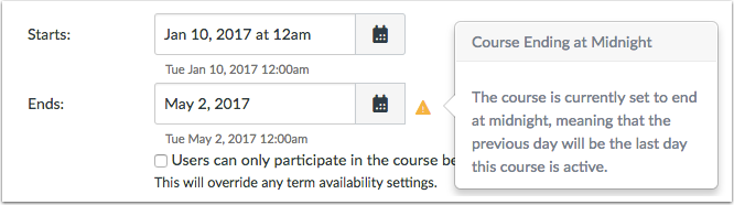 Warning about End Course Dates