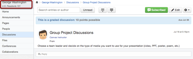 Student View of Discussion