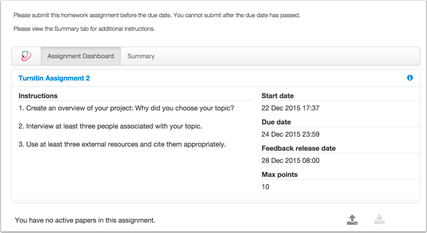 View Assignment Summary