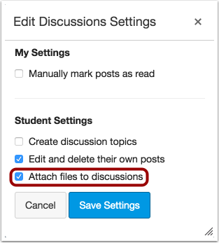 Edit Discussion Settings