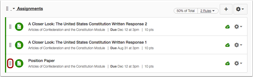 Manually Reorder Assignment