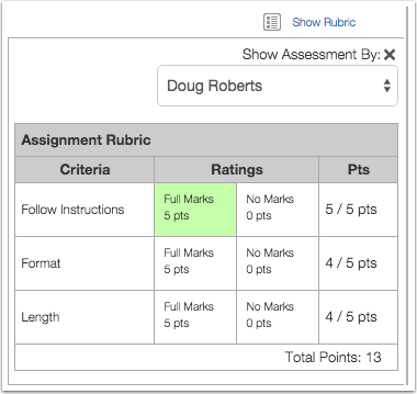 View Rubric Results