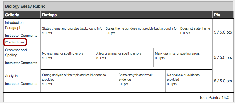 View Rubric Comments