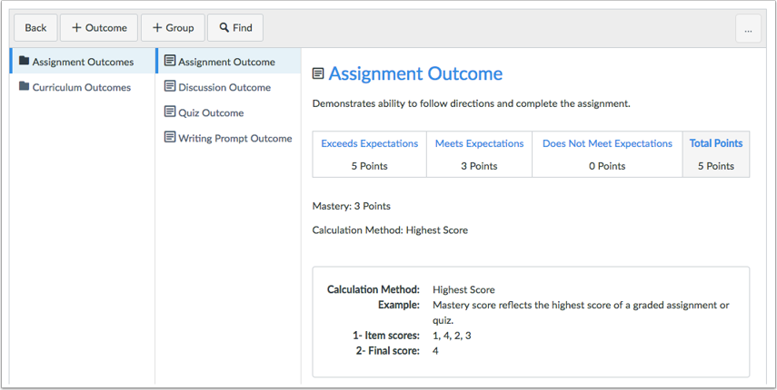When would I use Outcomes?