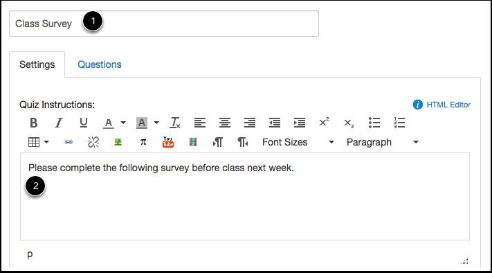Create Survey Information