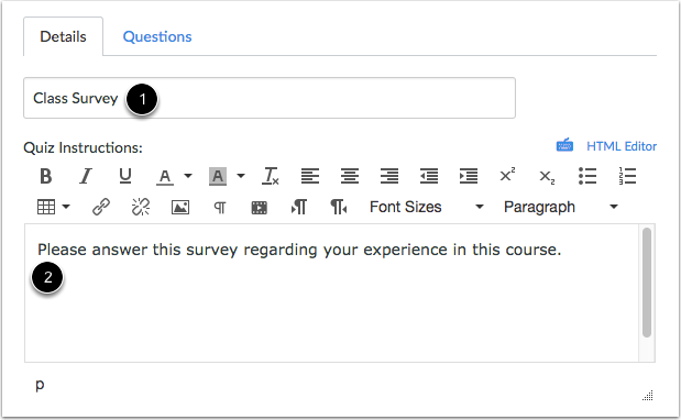 Create Survey Information