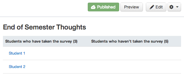 Select Student Survey Result