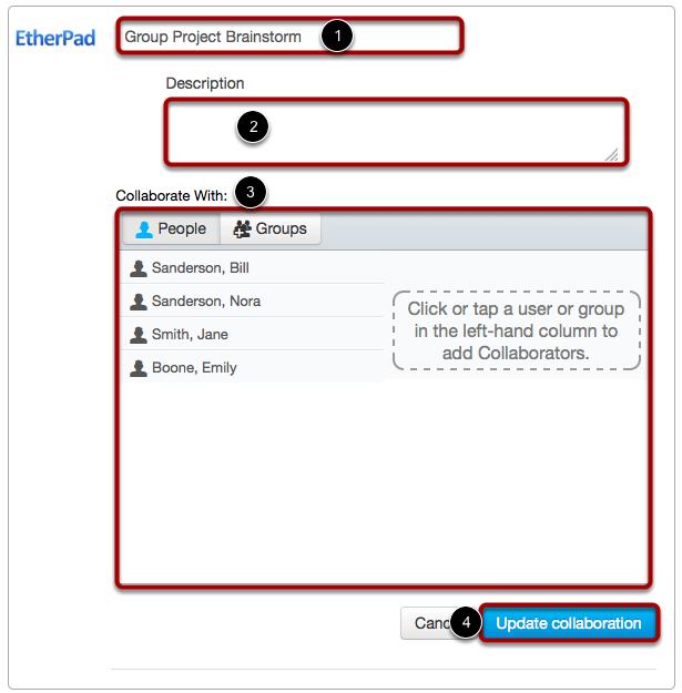 Edit EtherPad Collaboration