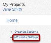 Open ePortfolio Settings