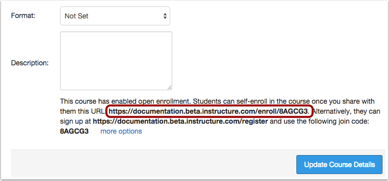 View Secret URL Self-Enrollment Option
