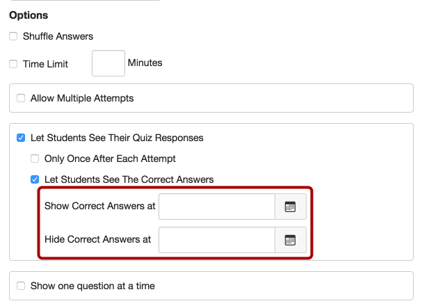 View Correct Answers in Quizzes
