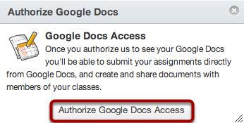 Authorize Google Docs Access