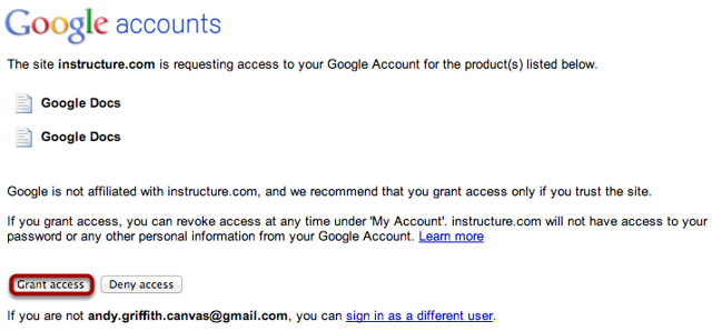 Grant Google Accounts Access