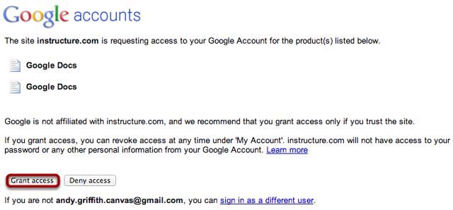 Grant Google Accounts Access