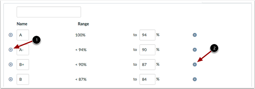 Add or remove ranges in a grading scheme