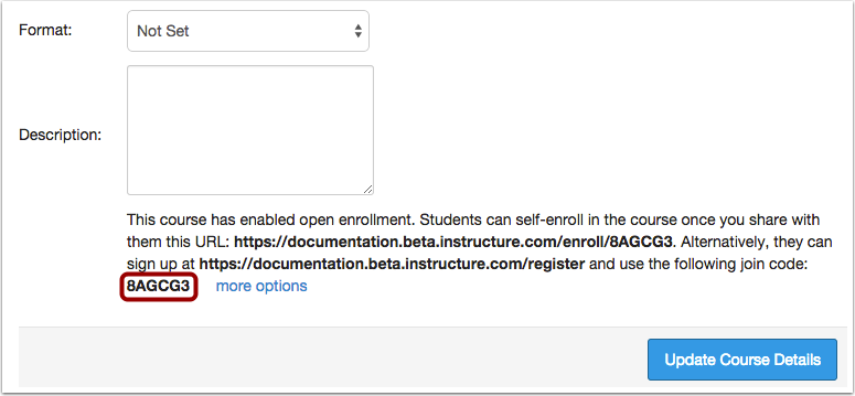 View Join Code Self-Enrollment Option