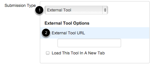 Set External Tool as the Submission Type