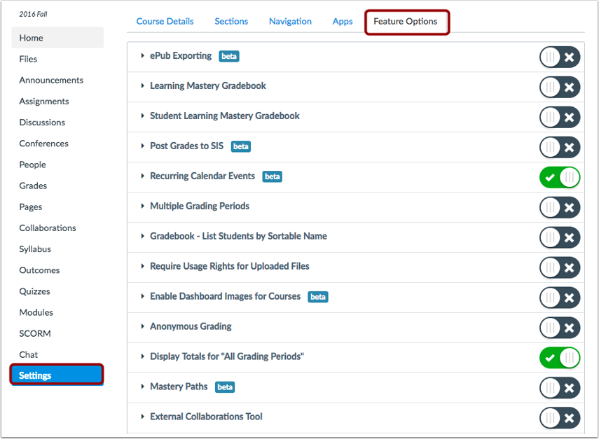 Manage Canvas Features