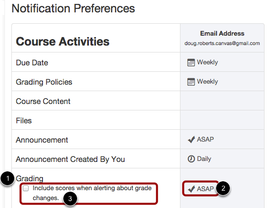 Set Grades Notification Preference