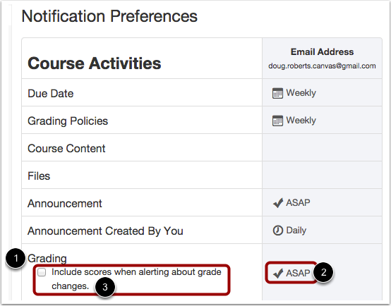 Set Grades Notification Preference