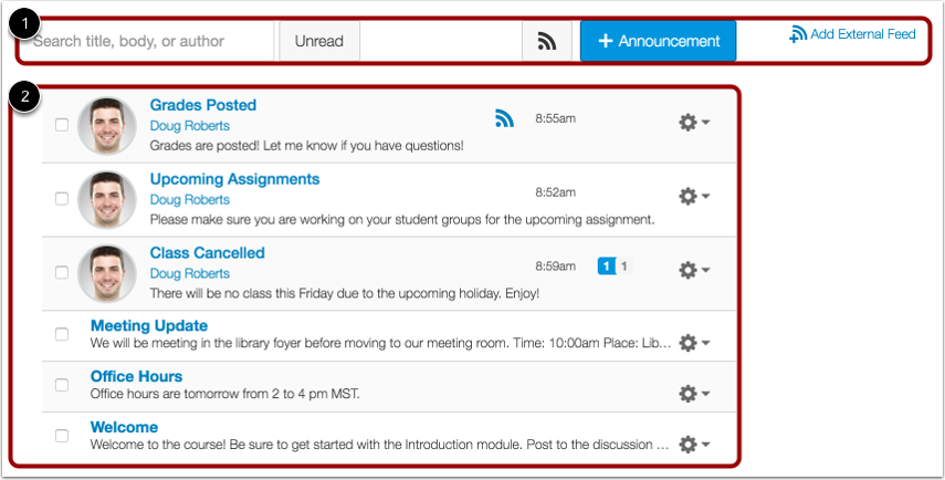 View Announcements Index Page