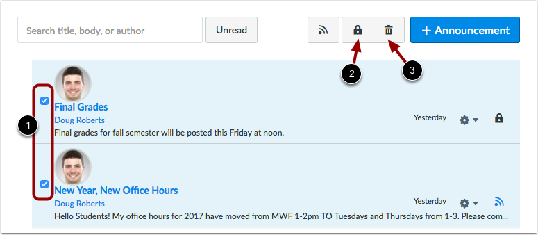 Manage Announcements