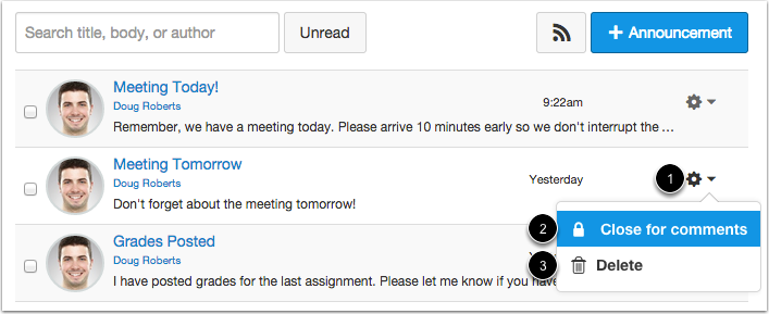 Manage Individual Announcements