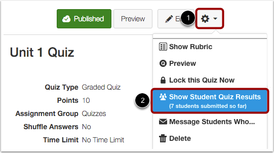 Show Student Quiz Results