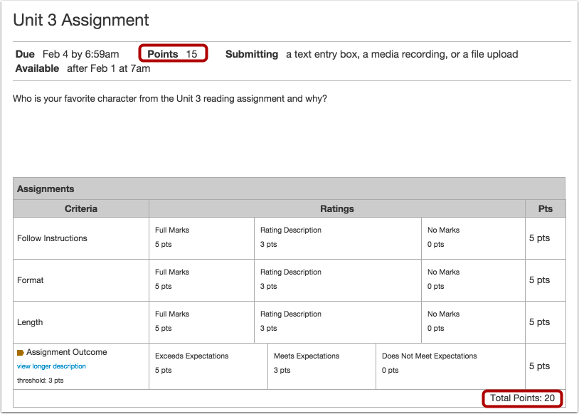 Create Extra Credit within a Rubric