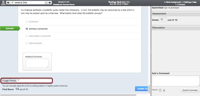 Add Fudge Points to a Quiz