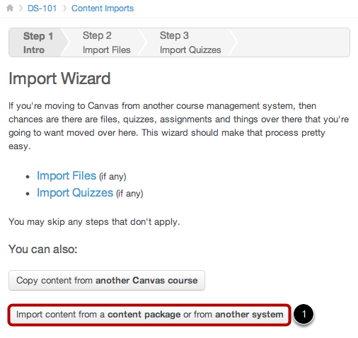 Import Content from Moodle