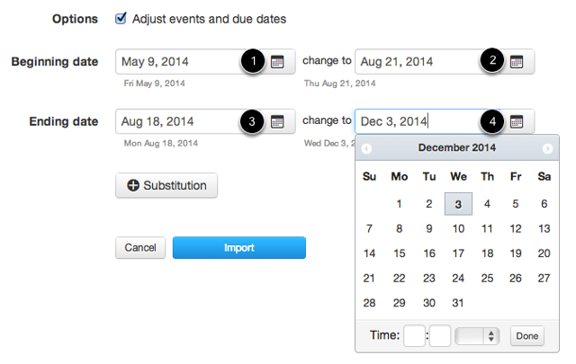 Adjust Beginning and Ending Dates