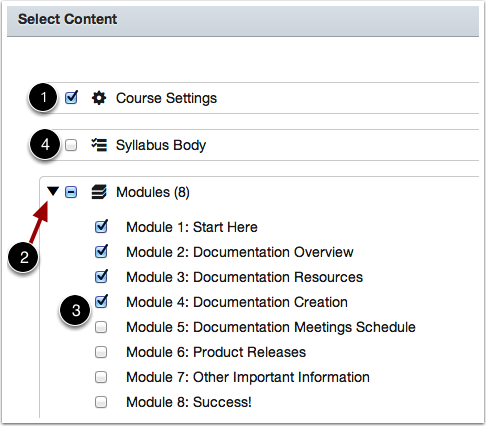 Select Content to Import