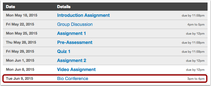 Student View: Calendar Events on the Syllabus Page
