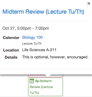 Student View: Event Details in the Calendar