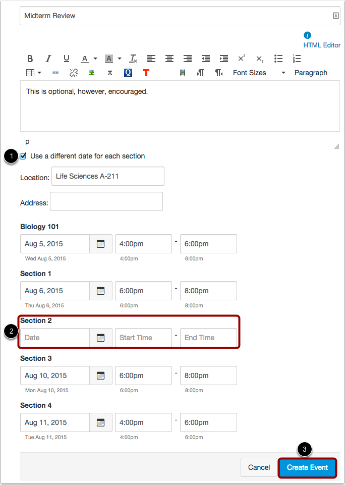 Set a Different Calendar Event Date for Each Section