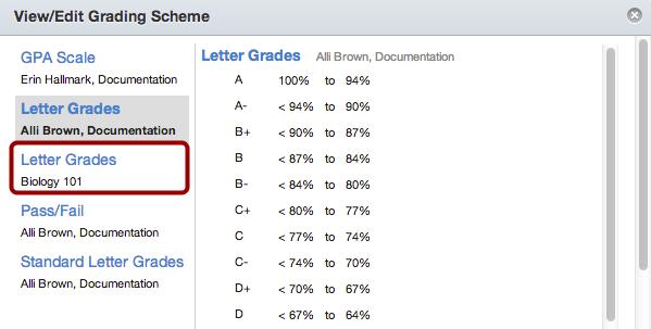 Choose Grading Scheme