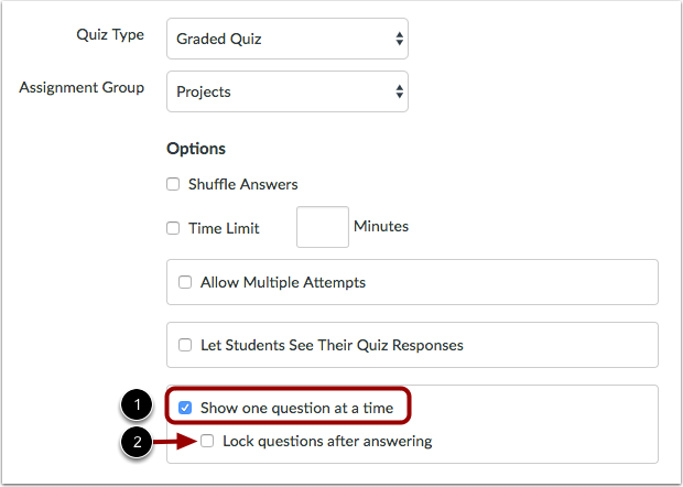 Edit Quiz Options